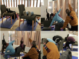 chair yoga teacher helping cancer patients